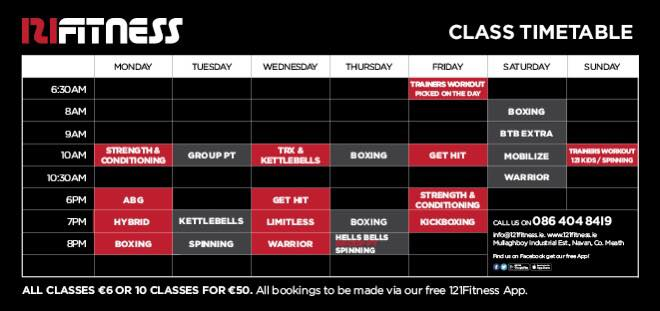 New Class Timetable – March 2017